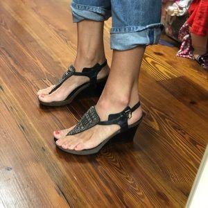 New Black Nine West Wedge Sandals. Size 7.
